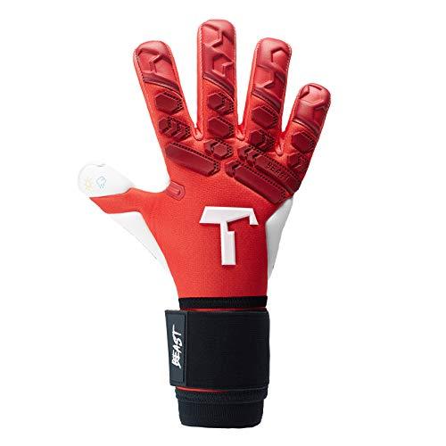 T1TAN Red Beast 2.0 Torwarthandschuhe mit Fingerschutz, Fußballhandschuhe Herren & Erwachsene - 4mm Profi Grip - Gr. 10 - 5