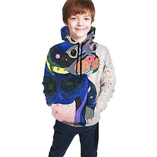 YongColer Kids 3D Cartoon Printed Hoodies Teen Boys' Cute Galaxy Hooded Sweatshirts 7-20 Years(Watercolor French Bulldog, XL)
