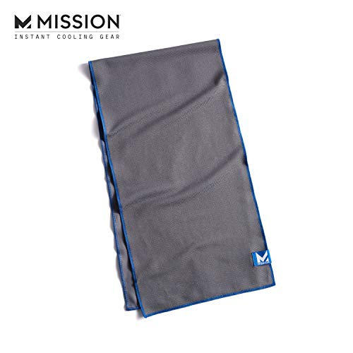 "MISSION Max Plus Cooling Towel- Maximum Instant Evaporative Cooling in a Soft, Smooth Fabric, Cools Instantly When Wet, UPF 50 Sun Protection, Yoga, Golf, Gym, Neck, Workout, 9.5 x 36""- Charcoal"