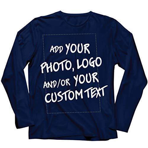 lepni.me Camiseta de Manga Larga para Hombre Regalo Personalizado, Agregar Logotipo de la Compañía, Diseño Propio o Foto (Medium Azul Multicolor)