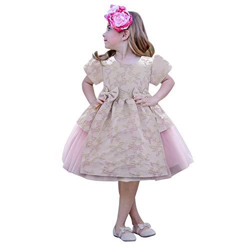 Baby Mädchen Kleid Geburtstag Partykleid Taufkleid Kinder Mädchen Bowknot Blumen Gestickte Spitze Tüllkleid Tütü Prinzessin Kleider Hochzeit Party Festzug Formale Partei Festkleid Festlich Kleid