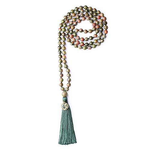 coai Unisex Handgeknüpft 108 Mala Yoga Kette Buddhistische Halskette Gebetskette aus Facettierte Unakit mit Quaste und OM Anhänger
