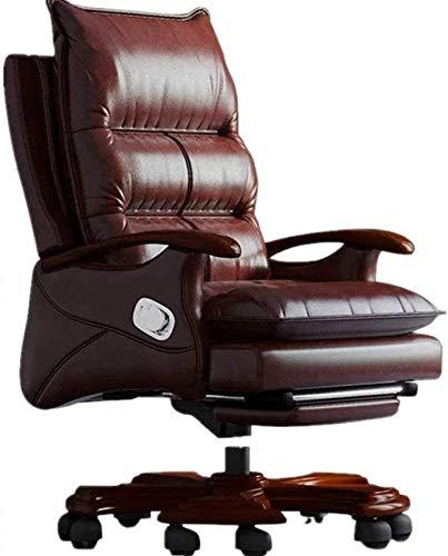 Silla de oficina de madera maciza para el hogar, silla giratoria para ordenador, silla reclinable, silla de negocios arrodillada (color: marrón, tamaño: 69 x 55 x 116 cm)