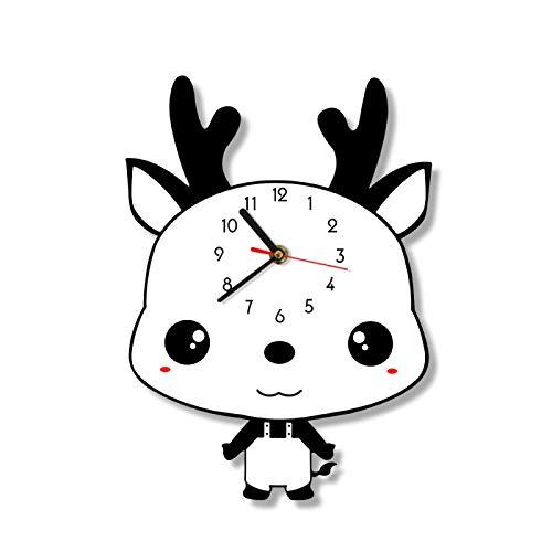 Reloj de Pared Oveja pequeña Impresión de Dibujos Animados Reloj de Pared Oveja Habitación para niños Guardería Arte de la Pared Decoración Animal Bebé Oveja Sin tictac Reloj de Pared Colgante