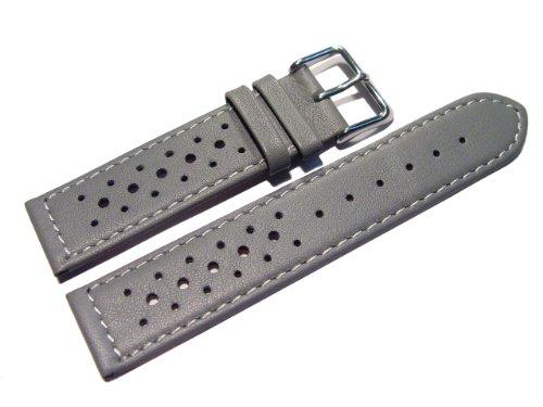 Uhrenarmband - Watchband Berlin - echtes Leder - Race Rally - Style - grau - weiße Naht - 20mm