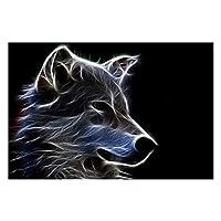 キャンバス絵画 ホームインテリアは、リビングルームの壁の芸術クールな動物の絵を描く抽象ファンタジー毛皮で覆われた狼のプリントポスターキャンバス (Color : No Frame, Size (Inch) : 50cmx70cm)