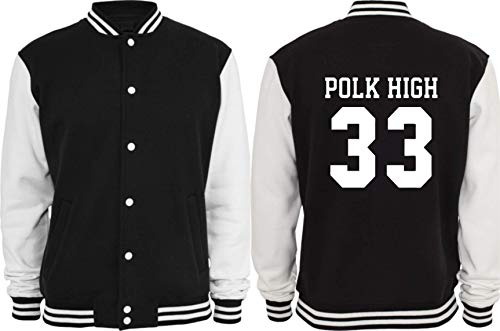Textilhandel Hering Collegejacke - Polk High I AL Bundy I 33 I No Maam I Schrecklich Nette Familie (Schwarz/Weiß, M)