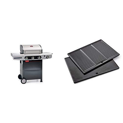 barbecook Gasgrill, Siesta 310, 132 x 61 x 114 cm & Grillplatte Grillzubehör Gusseisen emaillierte passend zu Grill Quisson und Siesta, schwarz