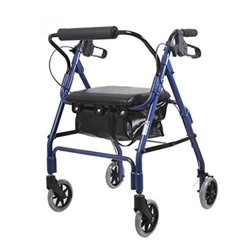 LYP Andador Rollator Andador de Peso Ligero Freno Plegable Walker Adulto Asiento Regulable en Altura, con Las piernas incómodo y pies andadores Estándar (Color : Blue)