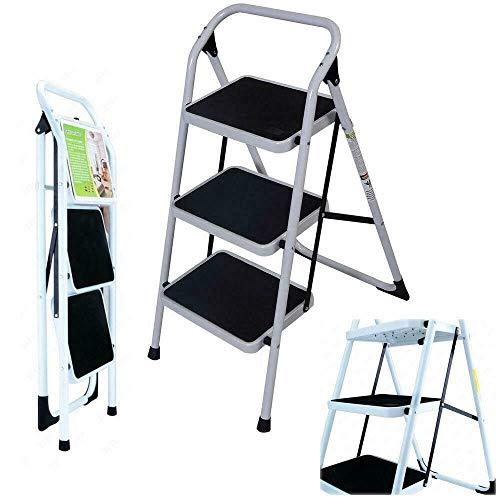 Non-Slip 3 Step Ladder Folding Platform Stool Stepladder 330 lbs Load Capacity