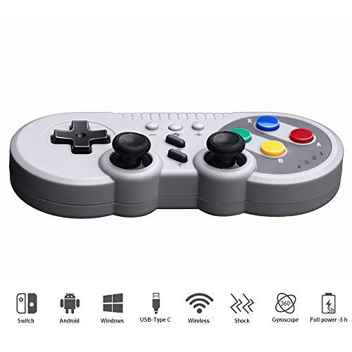 Mando Inalámbrico para Nintendo Switch, Dual Shock / Gyro Axis Bluetooth Joystick Controller, Gamepad Controlador Soporte Android / Windows PC 360