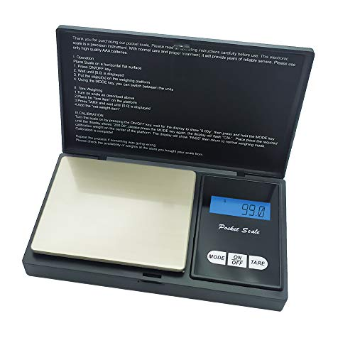 EUROXANTY Báscula de precisión | Bascula digital con pantalla LCD | 7 unidades de medida | Joyerías | Precisión en la cocina | Tamaño reducido 13 x 8 cm