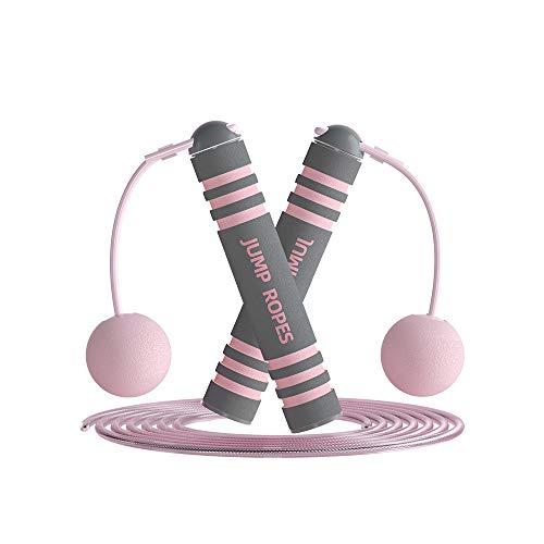 Cuerda de saltar, cuerda de saltar ajustable, cuerda de velocidad con asas de espuma viscoelástica, cuerda de saltar sin enredos, cuerda de saltar para hacer ejercicio, hombres,...
