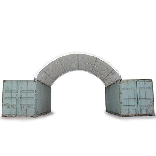 TOOLPORT Container Überdachung Zelt 6x6 m Lagerhalle Contop Garage Schüttgut Silo Halle Unterstand 350g/m² PE weiß