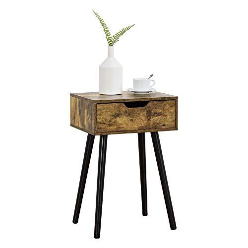 [en.casa] Beistelltisch Östersund mit Schublade 60x40x30 cm Kommode Retro Nachttisch Schubladentisch Massivholz Spanplatte Dunkler Holzton