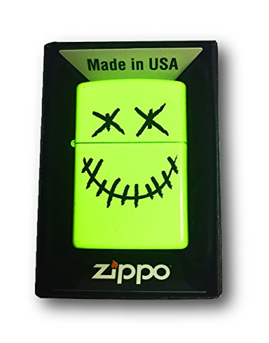 Zippo Custom Lighter - Stitched Skull Face - Neon Yellow Finish - Gifts for Him, for Her, for Boys, for Girls, for Husband, for Wife, for Them, for Men, for Women, for Kids