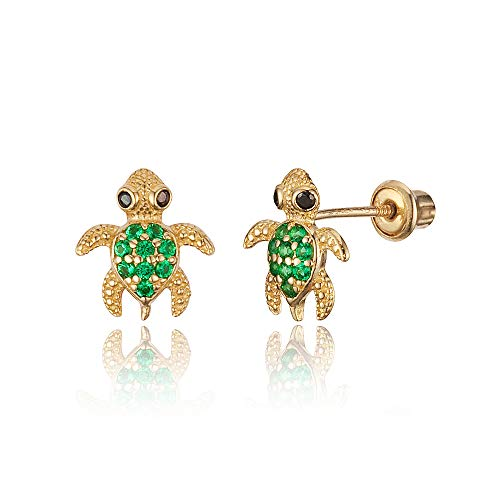 14k Yellow Gold Green Turtle Cubic Zirconia Children Screwback Baby Girls Stud Earrings