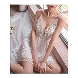 Moonlight Star Nachtschlaf Kleid Nighgien für Frauen Unterwäsche Dessous Sling Spitze Stickerei V-Ausschnitt Sexy Nachthemd (Color : White, Size : One Size)