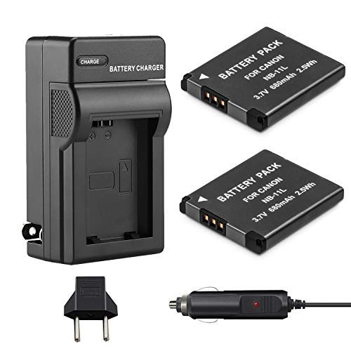 Venwo NB-11L/NB-11LH Battery (2-Pack) and Charger kit Compatible with Canon PowerShot ELPH 190 is, ELPH 180, ELPH 110 HS, SX400 is, SX410 is, SX420 is, A2300 is, A2400 is, A2500, A3400 is Camera