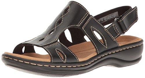 Clarks Women's Leisa Lakelyn Flat Sandal, Black Leather, 8.5 N US