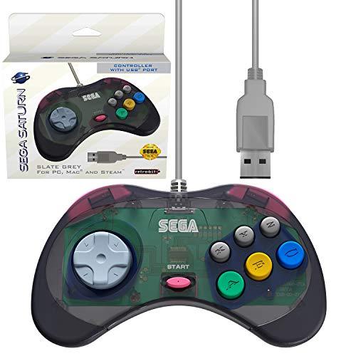 Retro-Bit Official Sega Saturn USB Controller Pad (Model 1) (Old Version) for Sega Genesis Mini, PC, Mac, Steam, RetroPie, Raspberry Pi - USB Port - (Slate Grey)