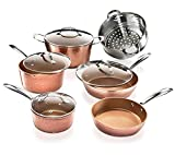Gotham Steel Hammered Collection – 10 Piece Premium Cookware Set with Triple Coated Nonstick Copper Surface, Oven, Stovetop & Dishwasher Safe