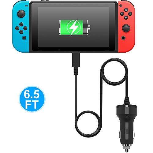 Caricabatteria da auto per Nintendo interruttore, Fyoung ad alta velocità caricatore auto adattatore per Nintendo interruttore (2m cavo del caricatore USB di tipo)