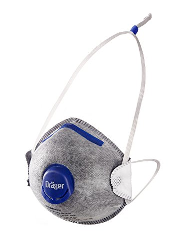 Dräger X-plore 1350 Odor Particulate Respirator with Exhalation Valve, 10 Pack, Size M/L, NIOSH-Certified Dust Mask with Nuisance Level Organic Vapor Relief, Adjustable Head Harness