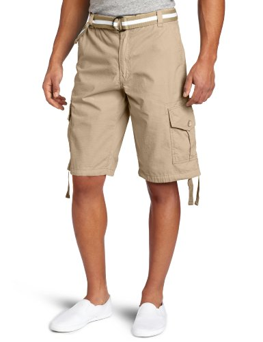 Southpole Men's Belted Ripstop Basic Cargo Short with Washing and 13.5 Inch Length All Season, Deep Khaki, 36