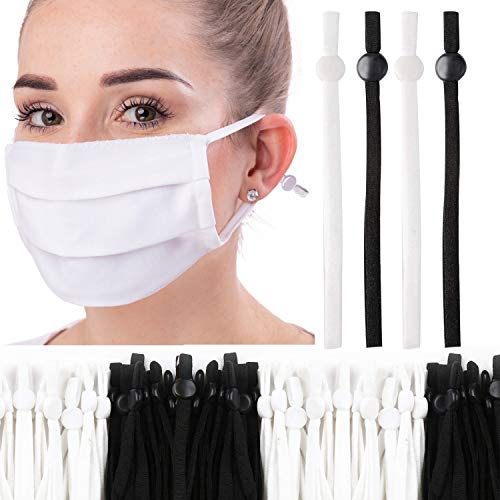 150 Pcs Elastic Cord for Mask with Adjustable Buckle 1/4 inch, Soft Elastic String Band Strap for Sewing Mask, High Stretch Face Cover Ear Loop Crafts DIY (Black & White)