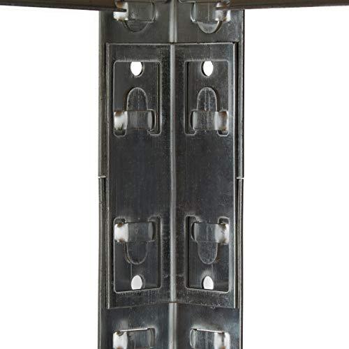 Relaxdays Schwerlastregal mit Werkbank, 900 Kg 5 Böden, Freistehend, HBT 180x 100 x 60 cm, Metall, MDF, Steckregal, grau - 3