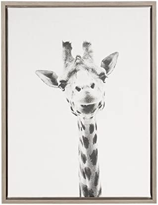 Kate and Laurel Sylvie Giraffe Animal Print Black and White Portrait Framed Canvas Wall Art product image