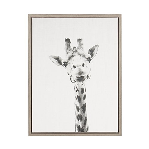Kate and Laurel Sylvie Giraffe Animal Print Black and White Portrait Framed Canvas Wall