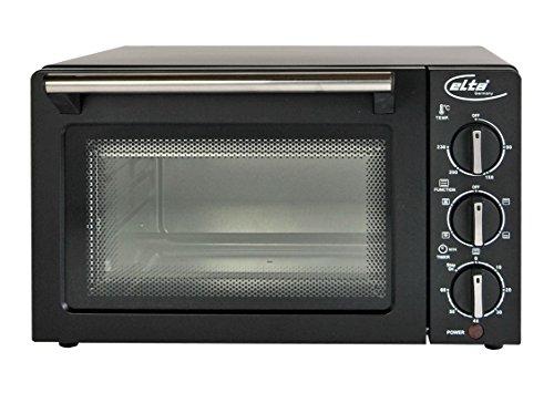 Umluftofen für Pizza bis 26cm mit Doppelvergasung Pizzaofen mit Umluft 1200W Miniofen Minibackofen Braun/Schwarz