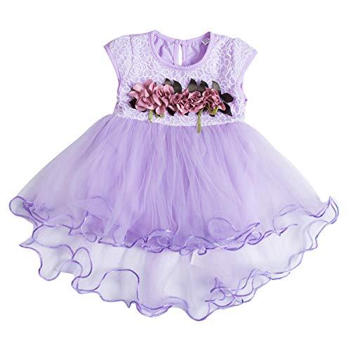 Chollius Abito da Battesimo Neonata Bambina 0-3 Anni Vestito da Principessa a Maniche Corte con Tulle Pizzo Vestito Elegante per Festa Cerimonia Compleanno (Viola, 12-18 Mesi)