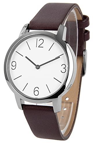 Reloj de pulsera controlado para mujer, acero inoxidable, correa de piel