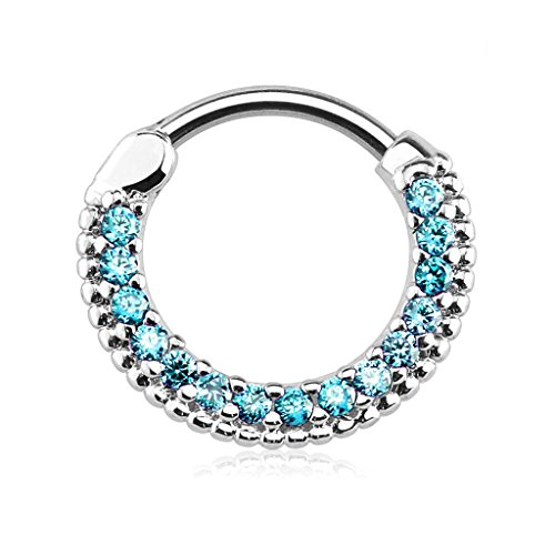 Forbidden Body Jewelry 16g 10mm Rounded Top Pave Aqua Blue CZ Clicker Hoop for Septum & Cartilage Piercings