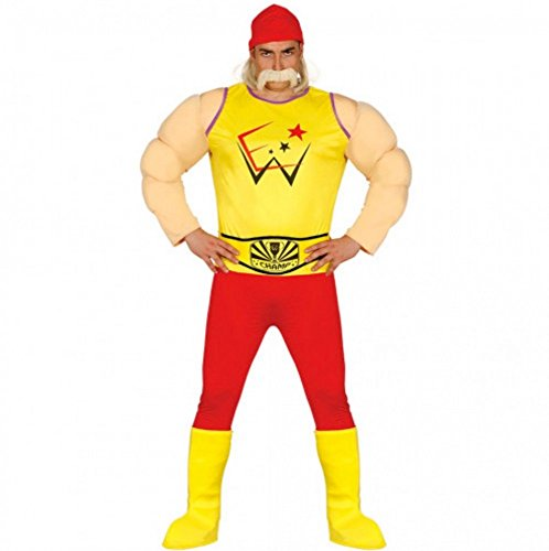shoperama Hulk Hogan Wrestler Herren Kostüm Ringer Ringkämpfer Wrestling Catcher, Größe:L
