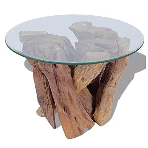 Marco de teca maciza natural de estilo rústico con mesa de centro de vidrio templado, mesa auxiliar totalmente hecha a mano, apta para patios interiores y exteriores