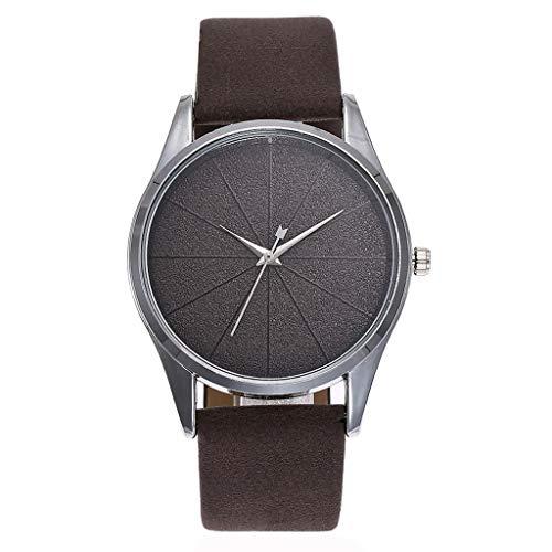 Swyss Women Men Minimalist Wristwatch Casual Leather Band Quartz Watch-Best (Coffee)