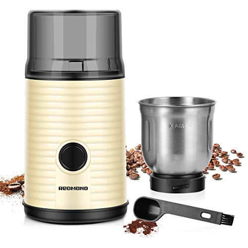 REDMOND Coffee Grinder Electric, Coffee Bean & Spice Grinder with 160W Powerful Motor and Stainless Steel Blade, 80g Large Capacity Removable Cup, 2-in-1 Cleaning Brush Included, CG004
