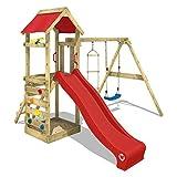 WICKEY Parque infantil de madera FreeFlyer con columpio y tobogán rojo, Torre...