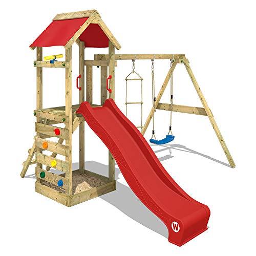 WICKEY Spielturm Klettergerüst FreeFlyer mit Schaukel & roter Rutsche, Kletterturm mit Sandkasten, Leiter & Spiel-Zubehör