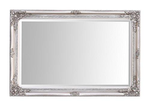 Espejos seleccionados Rhone Espejo de pared grande - Estilo barroco antiguo - Madera maciza - Acabado a mano - Plata antigua - 60 cm x 90 cm