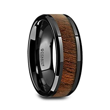 Thorsten - KONY Black Titanium Wedding Ring with Walnut Wood Inlay and Polished Beveled Edges Comfort Fit Lightweight Durable Wooden Wedding Band - 8mm