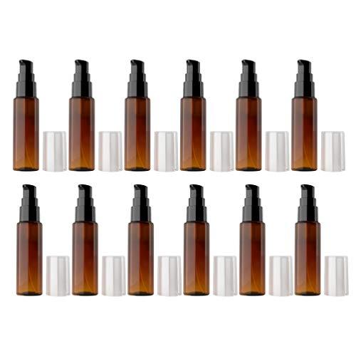 Beaupretty 12 botellas de spray de 30 ml, vacías, de plástico, para viajes, rellenables, para perfume, líquidos, cosméticos, agua, marrón