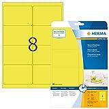Herma 5144 - Pack de 160 etiquetas, 99.1 x 67.7 mm, color amarillo fluorescente