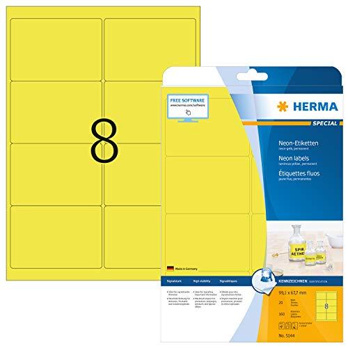 HERMA 5144 Neon-Etiketten DIN A4 (99,1 x 67,7 mm, 20 Blatt, Papier, matt) selbstklebend, bedruckbar, permanent haftende Farbetiketten, 160 Klebeetiketten, neon-gelb
