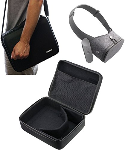Navitech Schwarz schwere robuste harten Fall/Abdeckung mit Schultergurt für Google Daydream View Virtual Reality Headset