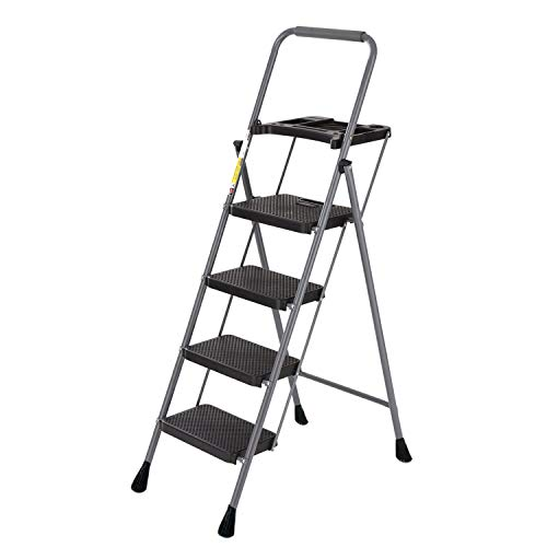 4 Step Ladder Tool Ladder Folding Portable Steel Frame Lightweight for Adults Indoor/Outdoor with Tool Platform Tray Equipment with Anti-Slip Pedal, 330lbs Capacity